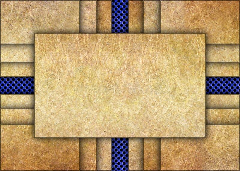 Détails en bronze avec le fond bleu en métal de maille image libre de droits