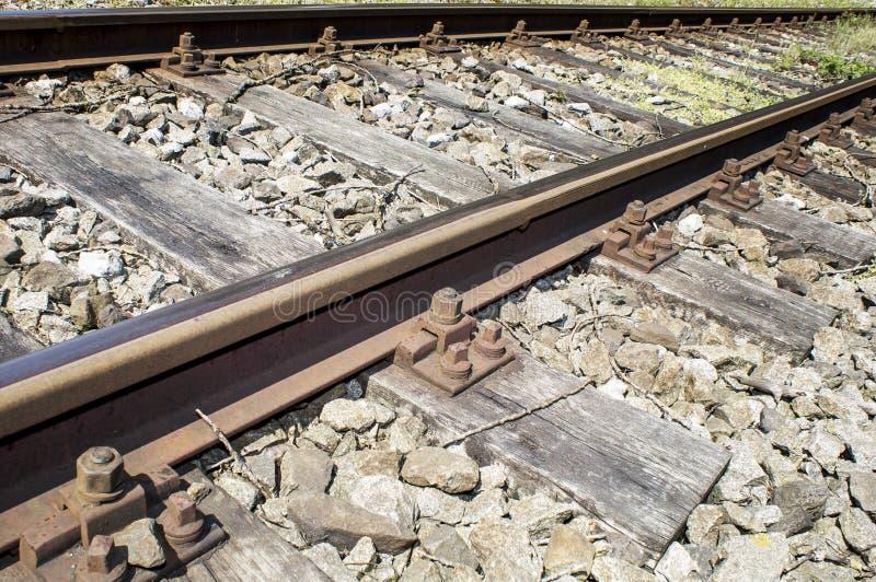 Détails ferroviaires de voies de garage  photographie stock