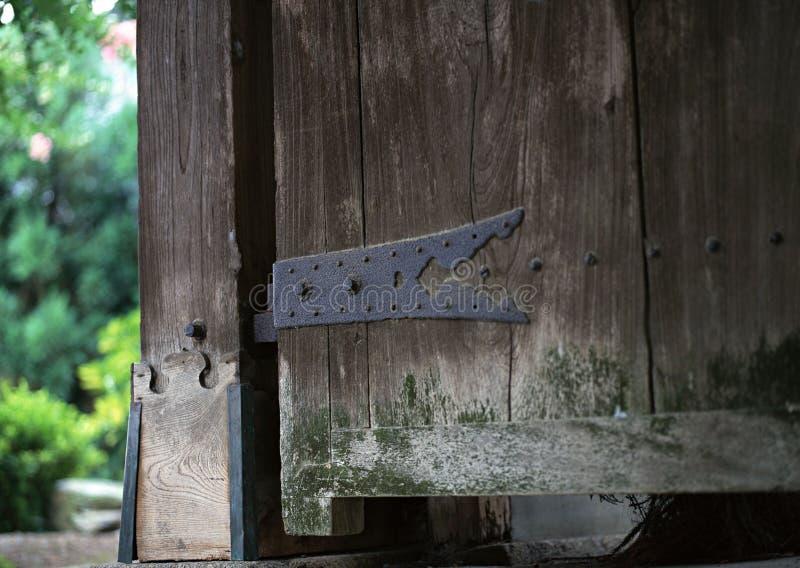Détails métalliques de menuiserie de porte rouillés par Japonais avec le fond de vis photo stock