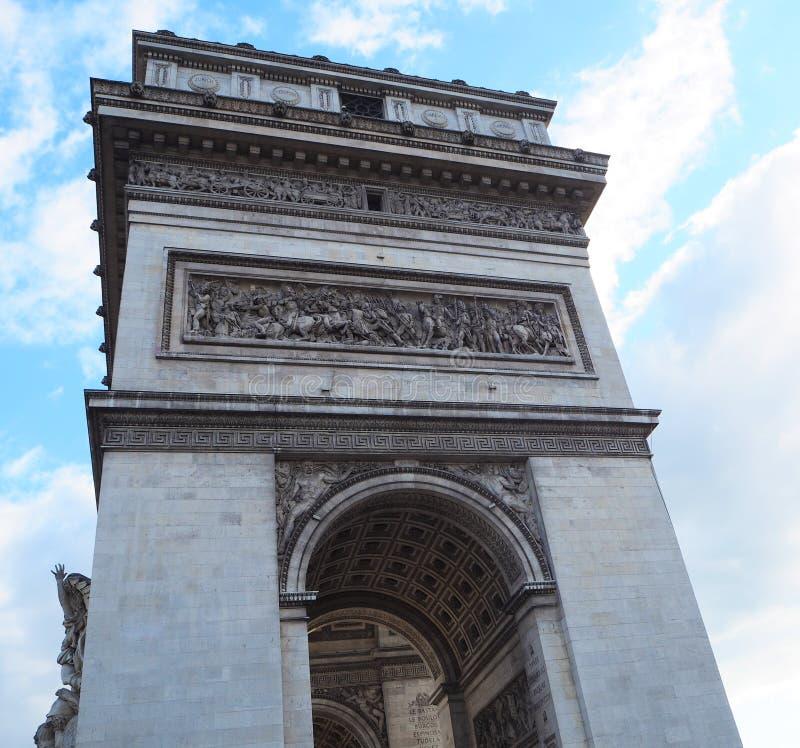 Détails sur la voûte triomphale d'Arc de Triomphe à Paris Vue de côté photographie stock