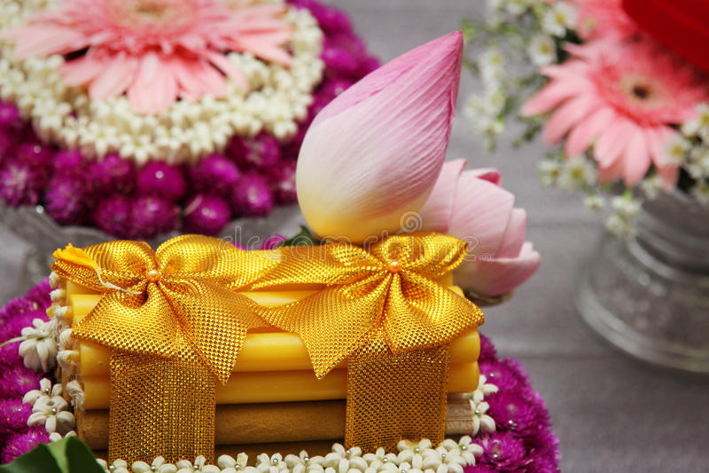 Détails thaïlandais de décoration de mariage images stock