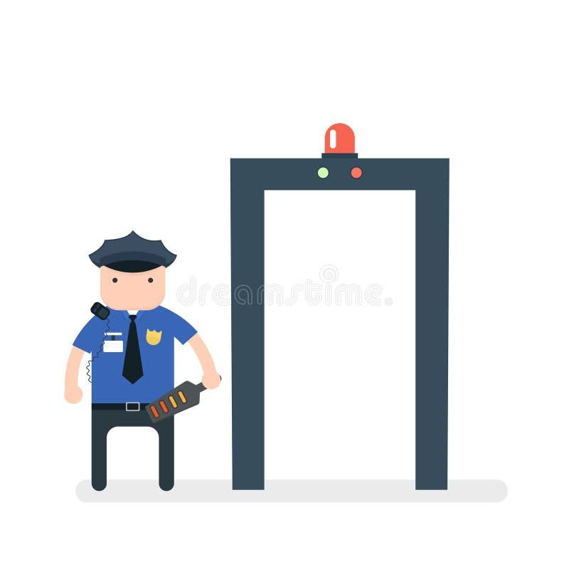 détecteur de métaux d'aéroport illustration libre de droits