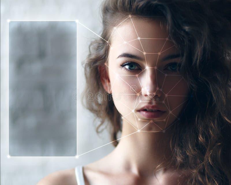 Détection biométrique de visage photographie stock libre de droits