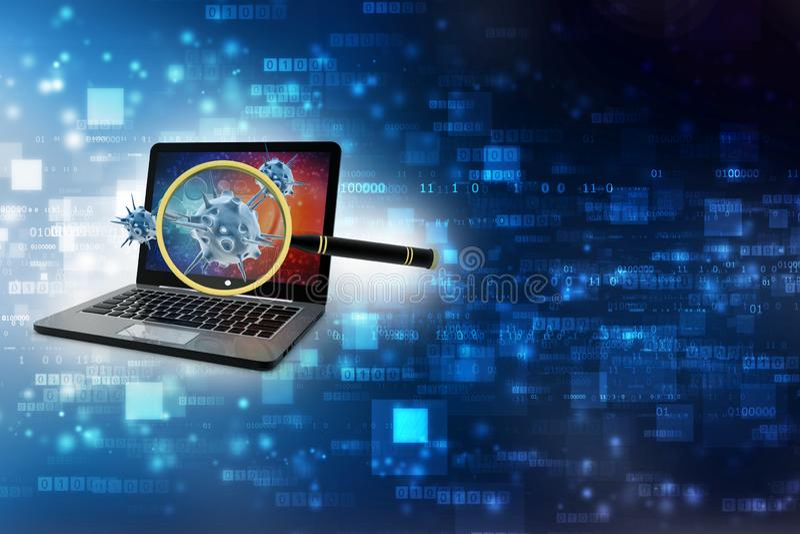 Détection de virus, virus de balayage de loupe avec l'ordinateur 3d rendent image stock