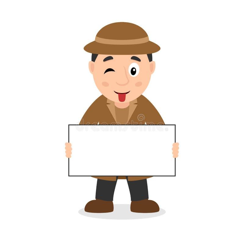 Détective Character avec la bannière vide illustration de vecteur