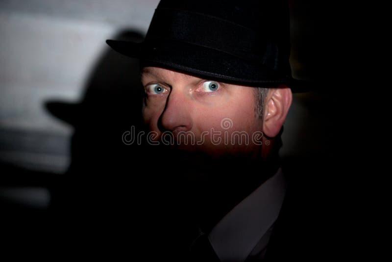 Détective criminel noir de film photos stock