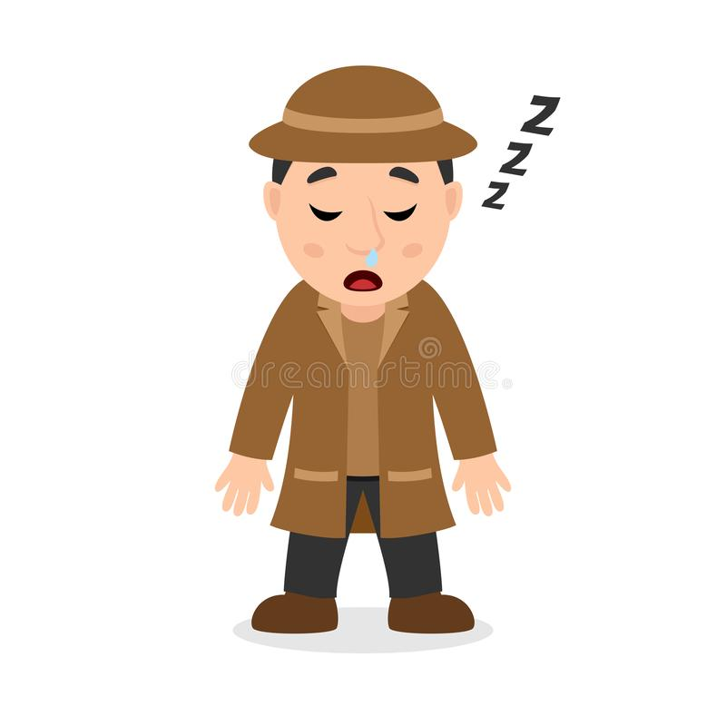 Détective de sommeil Cartoon Character illustration stock