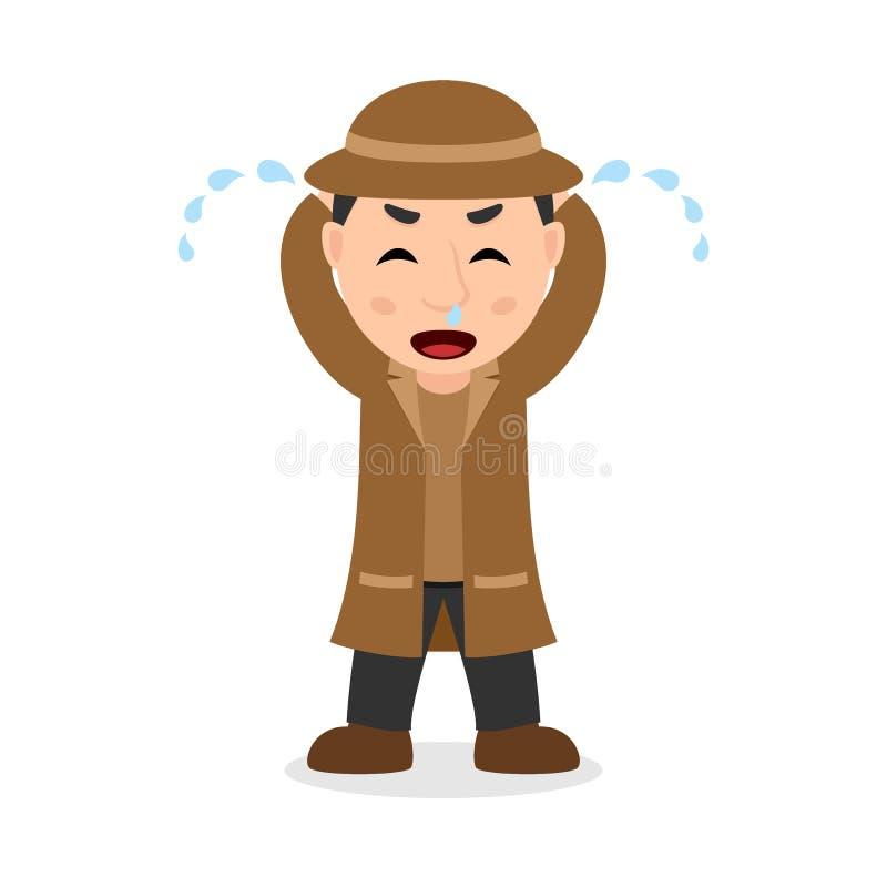 Détective pleurant Cartoon Character illustration libre de droits