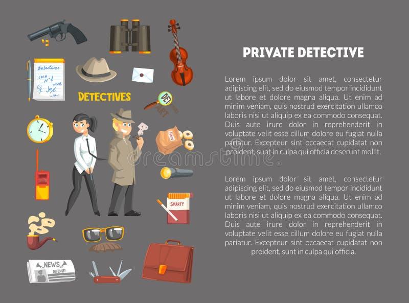 Détective privé Banner Template avec l'endroit pour le texte, détective Agency, enquête de crime, investigateurs avec illustration de vecteur