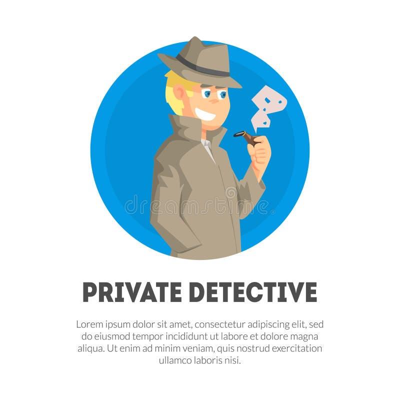 Détective privé Banner Template, inspecteur de police, illustration professionnelle de vecteur de travail de surveillance illustration libre de droits