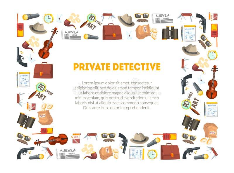 Détective privé Banner Template, investigateurs équipement et cadre d'accessoires avec l'endroit pour le texte, professionnel illustration de vecteur