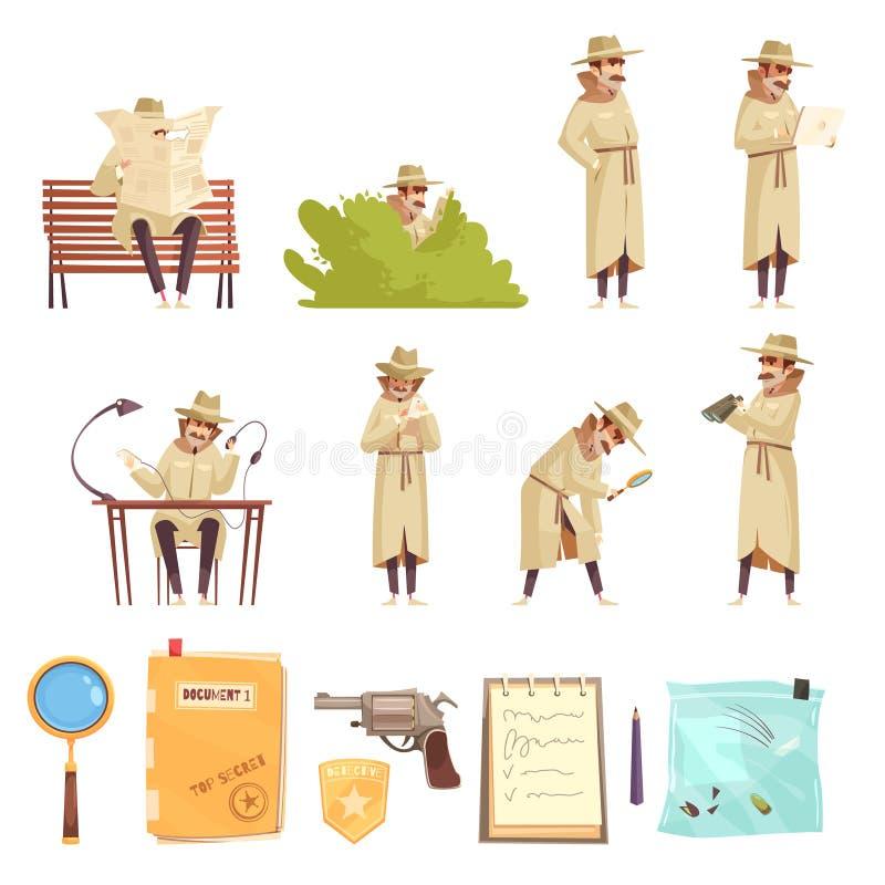 Détective privé Cartoon Icons Collection illustration stock