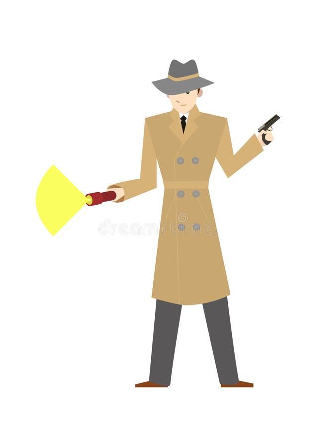 Détective privé de personnage de dessin animé avec une arme à feu Vecteur illustration libre de droits