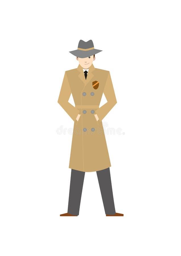 Détective privé de personnage de dessin animé dans le chapeau Vecteur illustration stock