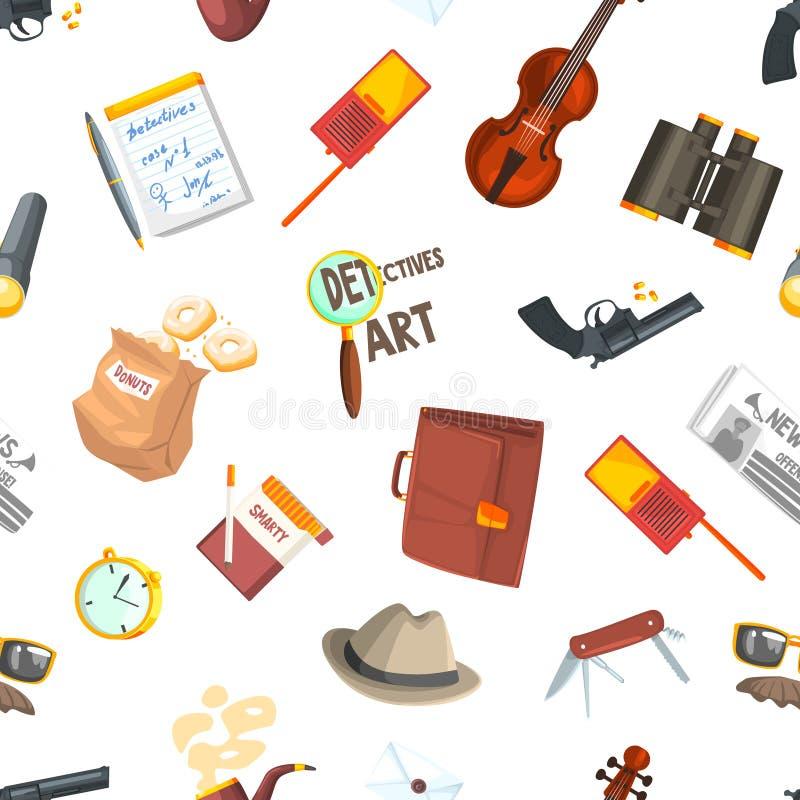Détective privé Seamless Pattern, investigateurs équipement et cadre d'accessoires avec l'endroit pour le texte, élément de conce illustration libre de droits