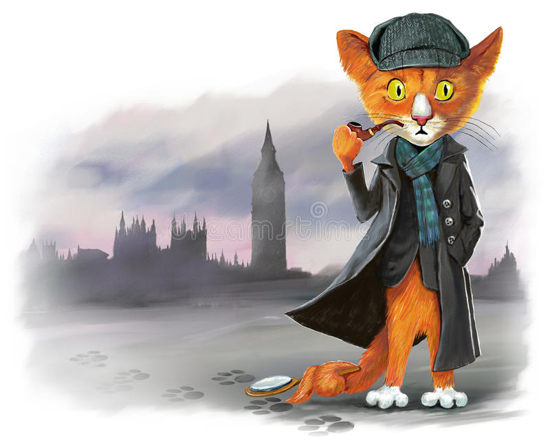 Détective rouge Sherlock Holmes de chat illustration stock