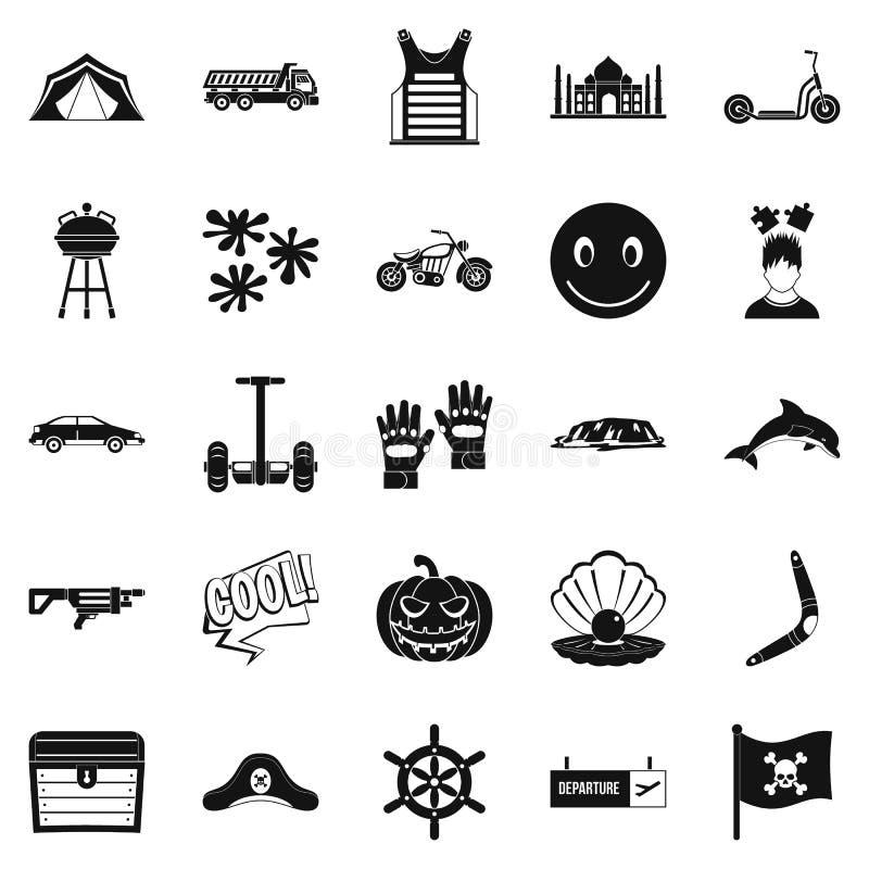 Détendez aux icônes d'hôtels réglées, style simple illustration libre de droits