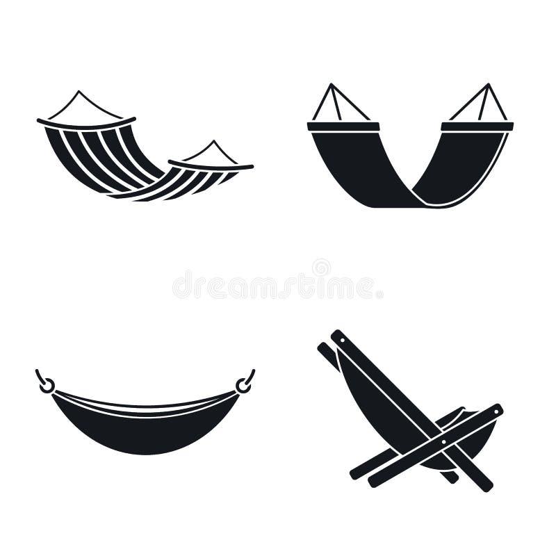 Détendez l'ensemble d'icône d'hamac, style simple illustration libre de droits