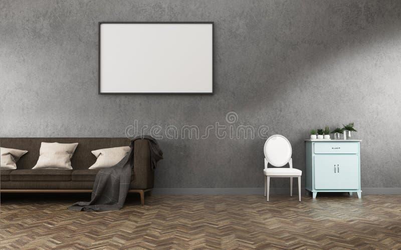 Détendez l'espace avec le fond mur en béton et plancher en bois dans le salon images libres de droits