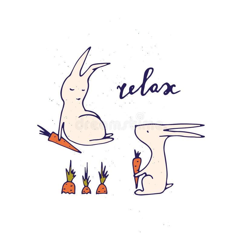 Détendez l'illustration Lettrage tiré par la main avec des lapins illustration stock