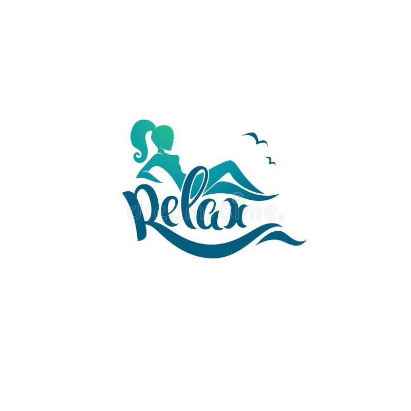 Détendez le calibre de logo, image de compositio de fille, de mer et de lettrage illustration libre de droits