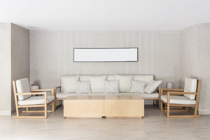 Détendez le coin dans la maison Le sofa et les chaises avec la photo encadrent o accrochant images libres de droits