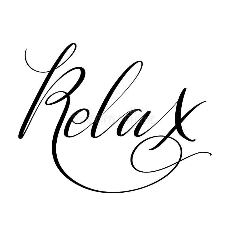 Détendez le mot La calligraphie créative tirée par la main et la brosse parquent le lettrage, la conception pour des cartes de vo illustration libre de droits