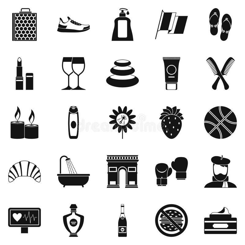 Détendez les icônes réglées, style simple illustration de vecteur