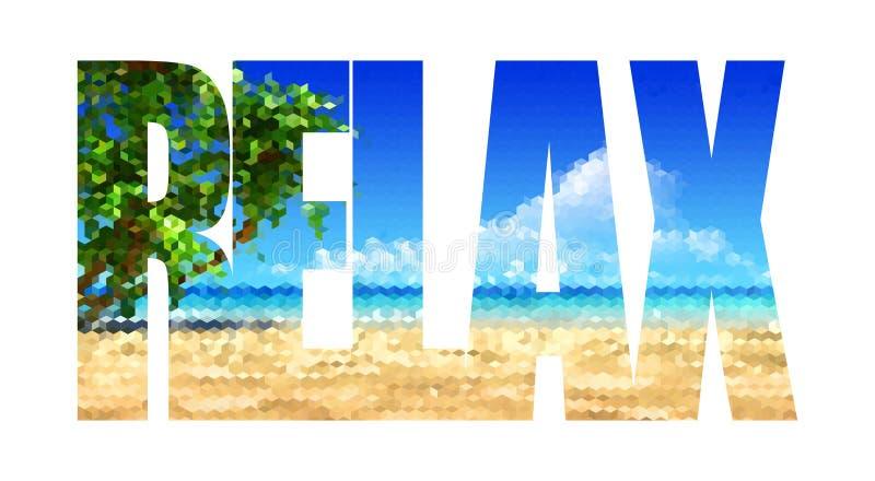 Détendez, mot d'isolement sur le fond blanc avec la texture en mer illustration libre de droits