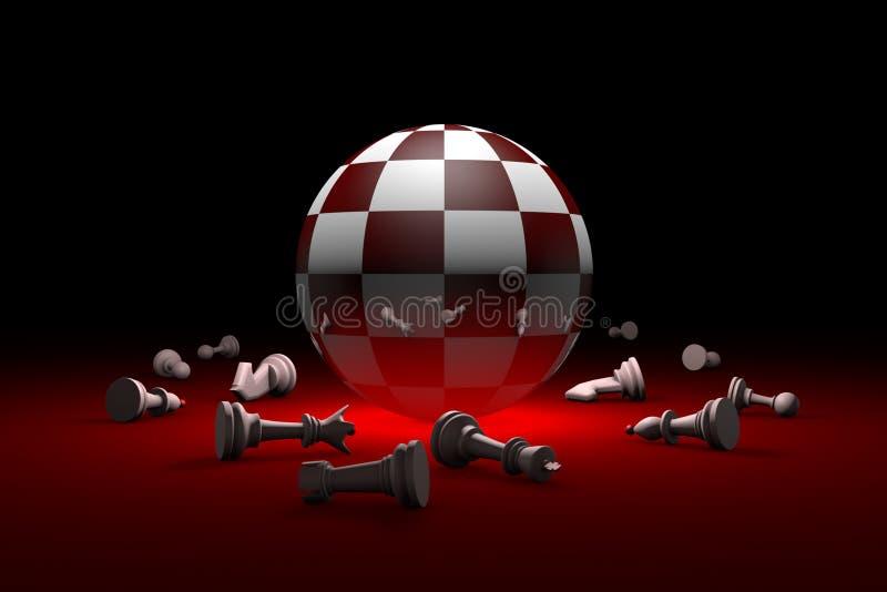 détendez profondément la métaphore 3D d'échecs rendent l'illustration L'espace libre illustration stock