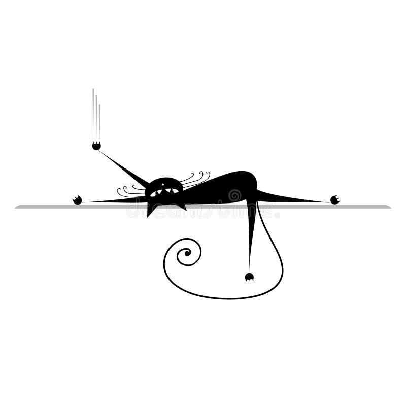 Détendez. Silhouette de chat noir illustration stock