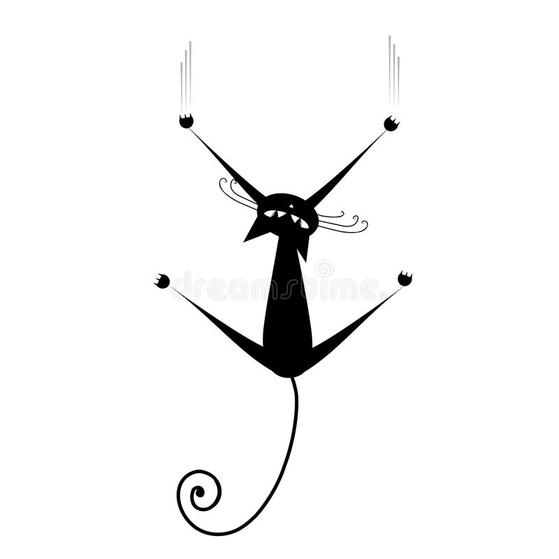 Détendez. Silhouette de chat noir pour votre conception illustration stock