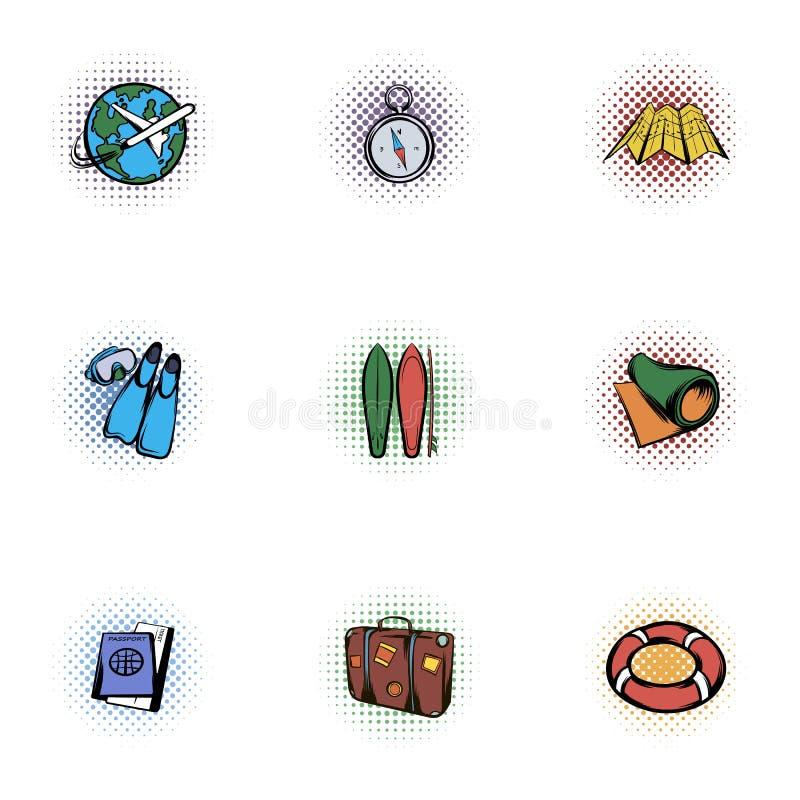 Détendez sur des icônes de plage réglées, style de bruit-art illustration de vecteur