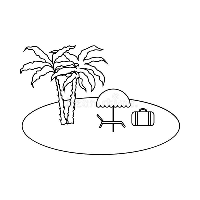 Détendez sur l'icône de plage, style d'ensemble illustration de vecteur