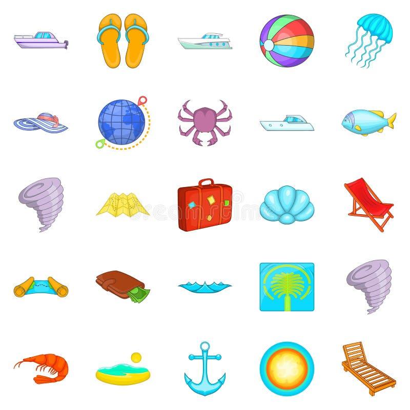 Détendez sur les icônes de bateau réglées, style de bande dessinée illustration de vecteur