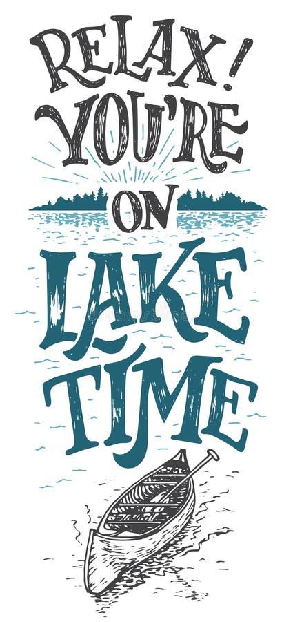 Détendez-vous sont sur le signe de décor de cabine de temps de lac