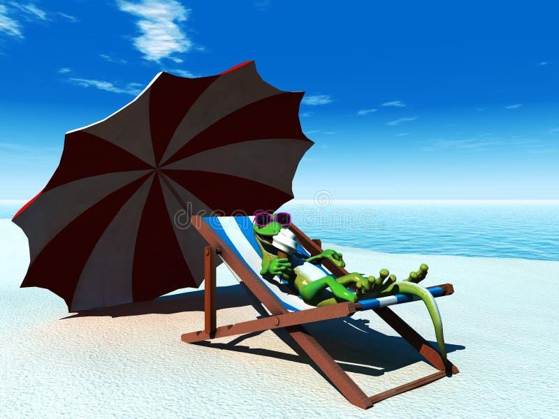 détente fraîche de gecko de dessin animé de plage illustration libre de droits