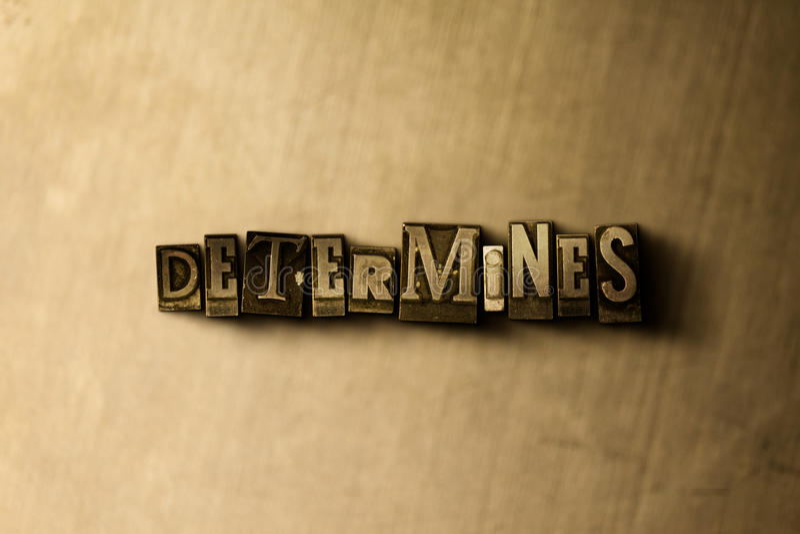 DÉTERMINE - le plan rapproché du mot composé par vintage sale sur le contexte en métal illustration libre de droits