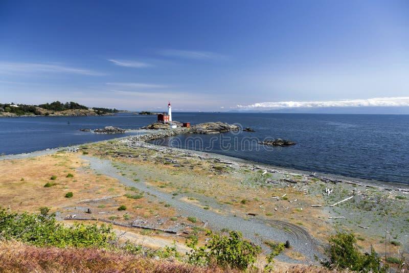 Détroit de phare de Fisgard de l'océan pacifique de côte ouest de Juan De Fuca Vancouver Island AVANT JÉSUS CHRIST Canada photo libre de droits