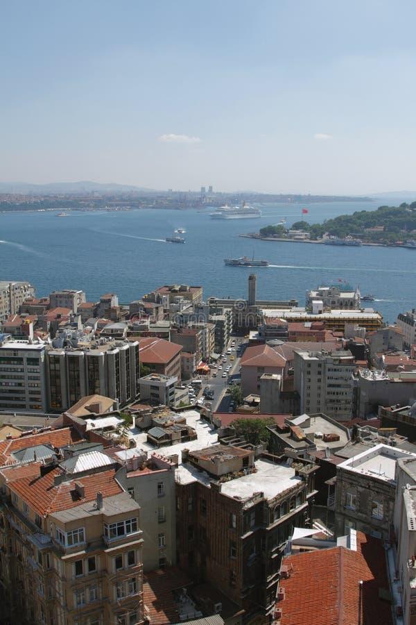 Détroit de ville et de Bosphorus Istanbul, Turquie photographie stock libre de droits