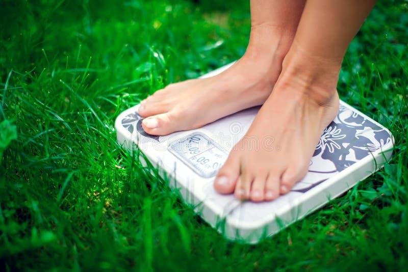 Détruisez le concept de poids Une personne sur une échelle sur un ki de mesure d'herbe photo libre de droits