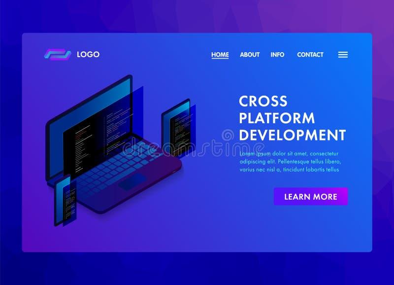 Développement de logiciel multi de plate-forme et codage du calibre de programmation de site Web, de la page de débarquement ou d illustration libre de droits