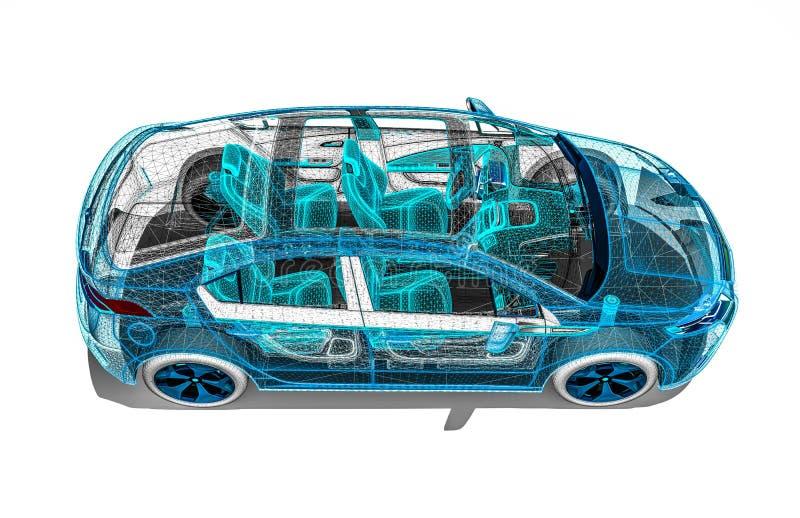 Développement de voiture sur des logiciels illustration de vecteur