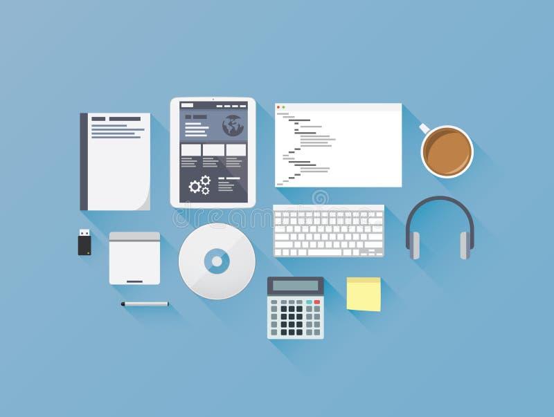 Développement de Web codant l'illust réglé de vecteur d'icône plate illustration de vecteur