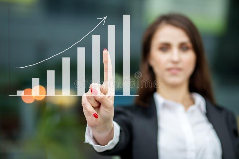 Développement des affaires au succès et le concept de la croissance de revenu annuel Points de femmes d'affaires à un plan d'entr photographie stock libre de droits