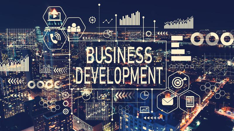 Développement des affaires avec la vue aérienne de Manhattan, NY image stock
