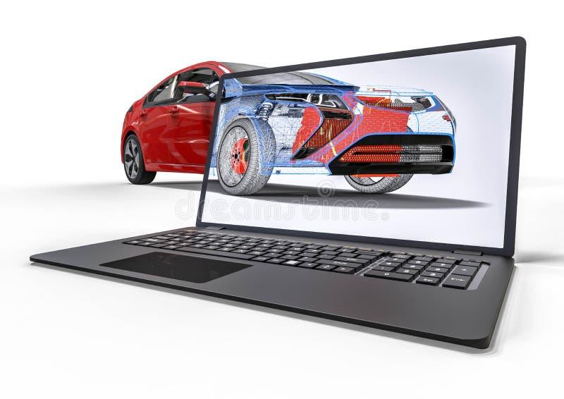 Développement des véhicules à moteur avec la conception assistée par ordinateur illustration libre de droits