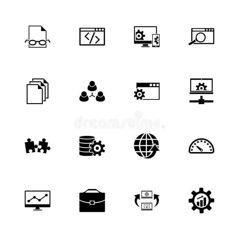 Développement - icônes plates de vecteur illustration stock