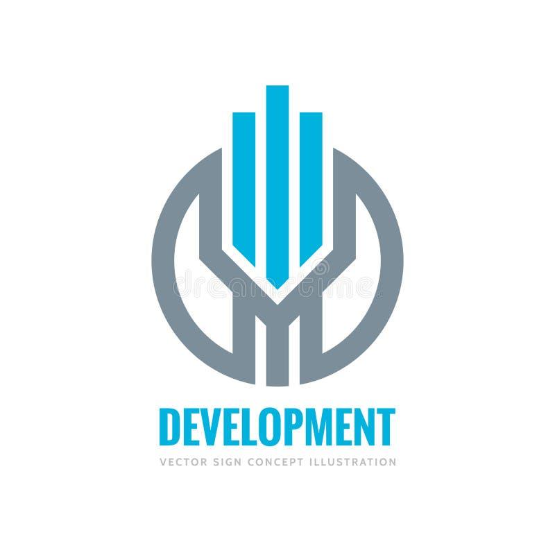 Développement - illustration de concept de calibre de logo de vecteur Rayures verticales en cercle Signe d'abrégé sur immobiliers illustration stock