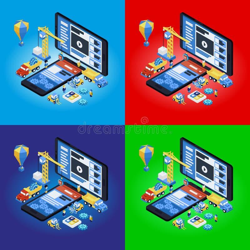 Développement mobile d'APP, équipe expérimentée 3d plat isométrique illustration stock